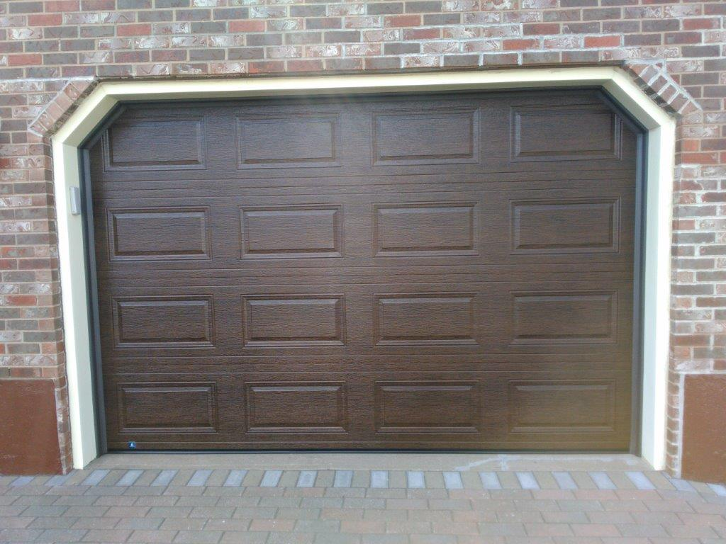 Close up of brown garage door
